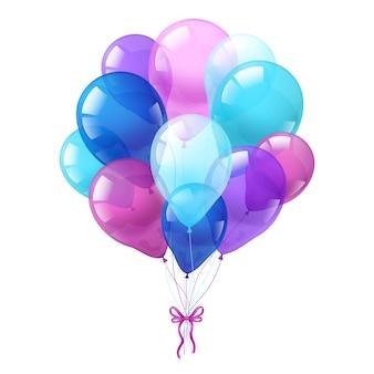 Weißer Hintergrund des bunten Ballonbündels