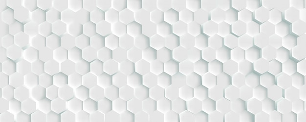 Weißer hintergrund des futuristischen wabenmosaiks 3d. realistische geometrische netzzellen textur. abstrakte weiße tapete mit sechseckgitter.