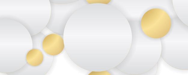 Weißer hintergrund mit abstrakten goldenen und grauen kreisen.