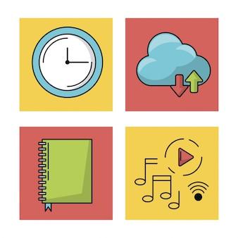 Weißer hintergrund mit bunten quadraten mit ikonen der beweglichen app