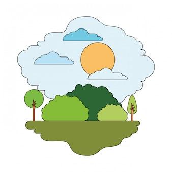 Weißer hintergrund mit bunter szene der naturlandschaft und des sonnigen tages mit dünner kontur
