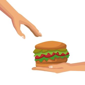 Weißer hintergrund mit den bunten händen, die einem anderen palmenmenschen einen schnellimbiß des hamburgers geben