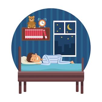 Weißer hintergrund mit kreisförmigen bunten szene junge schlaf im schlafzimmer