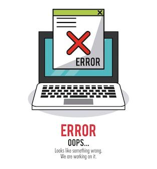 Weißer hintergrund mit laptop- und fenstermitteilungsfehler oops