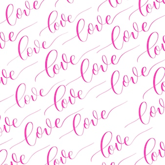Weißer hintergrund mit rosa kalligraphieaufschrift liebe.