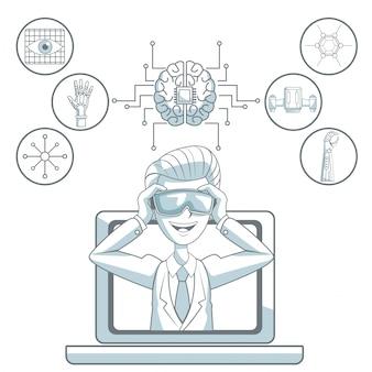 Weißer hintergrund mit schattenbildfarbabschnittschattierung des mannes mit den gläsern der virtuellen realität, welche die laptop- und ikonenelemente futuristisch lässt