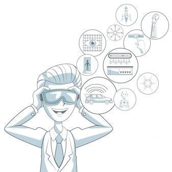 Weißer hintergrund mit schattenbildfarbabschnittschattierung des mannes mit gläsern der virtuellen realität und schwimmenden den ikonenelementen futuristisch