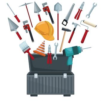 Weißer hintergrund mit toolbox geöffnet und utensilien schweben