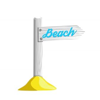 Weißer holzpfosten mit dem zeichen, das auf den strand zeigt