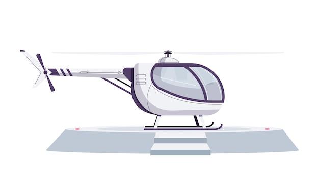 Weißer hubschrauber auf hubschrauberlandeplatz im flachen stil