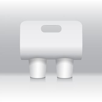 Weißer kaffeetassenkartonhalter. papierpackungshalter. vorderansicht. kaffeetassenhalter zum mitnehmen