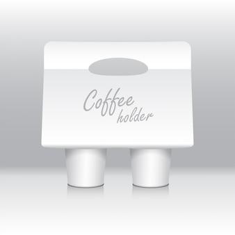 Weißer kaffeetassenkartonhalter. pappkaffeetassenhalter zum mitnehmen