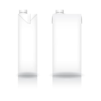 Weißer karton mit weißem schraubdeckel für milch- oder milchprodukte-mockup-vorderansicht