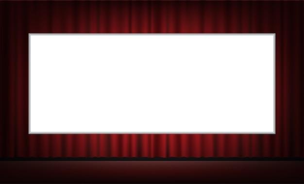 Weißer kinoleinwand mit rotem vorhang hintergrund