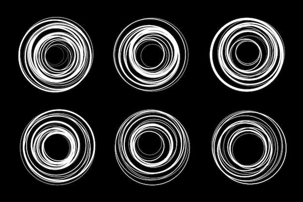Weißer kreis spiralrahmen gesetzt. kritzeleienrunden. doodle kreisförmige logo-design-elemente. insignia emblem sammlung.