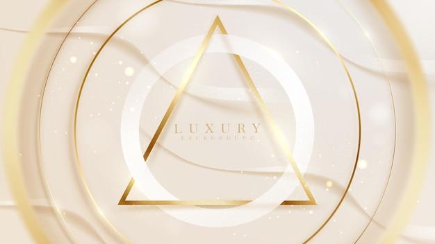 Weißer kreis und funkelnde goldene dreieckslinie mit unschärfeelementen, luxushintergrund, modernes cover-schönheitsdesign. vektor-illustration.