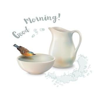 Weißer krug und ein vogel, der wasser aus einer töpferschüssel trinkt