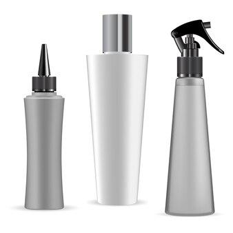 Weißer kunststoffkosmetikbehälterrohlingsatz