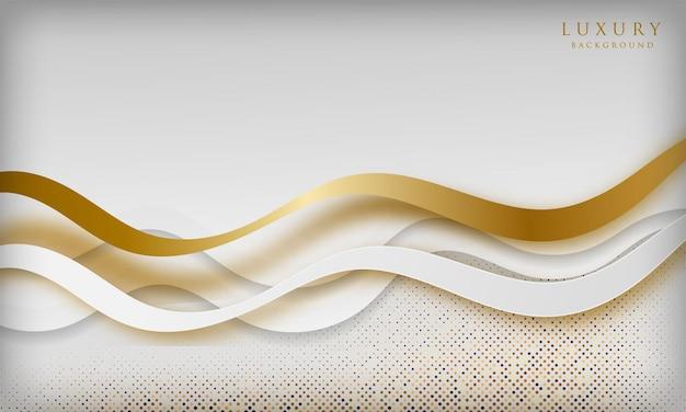 Weißer kurvenluxushintergrund mit goldenen linien und licht funkelt elegantes und erstklassiges konzept