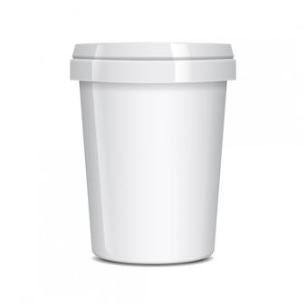 Weißer lebensmittelbehälter für fast food, dessert, eis, joghurt oder snack.