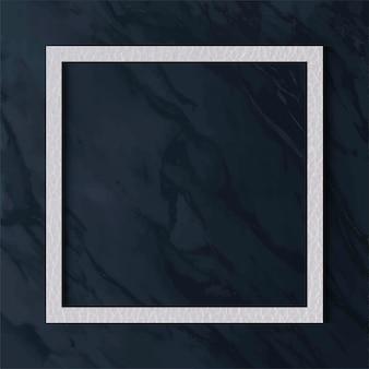 Weißer lederrahmen auf blauem marmorbeschaffenheitshintergrund