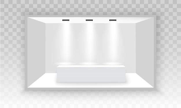 Weißer leerer 3d-werbeausstellungsstand. szenenschau podium für präsentationen. weißer leerer innenausstellungsstand zur präsentation mit scheinwerfer auf dem grauen hintergrund. abbildung, eps