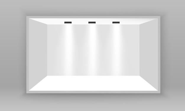 Weißer leerer 3d-werbeausstellungsstand. szenenschau podium für präsentationen. weißer leerer innenausstellungsstand zur präsentation mit scheinwerfer auf dem grauen hintergrund. illustration.
