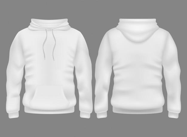 Weißer leerer hoodie der männer in der vorderen und hinteren ansicht.