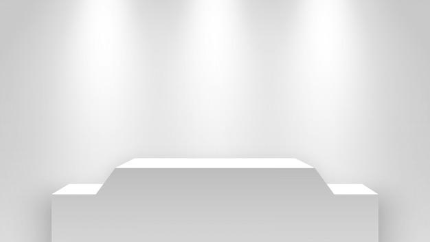 Weißer leerer messestand, beleuchtet von scheinwerfern. sockel. illustration.