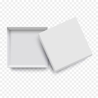 Weißer leerer offener verpackungskarton für modellentwurf