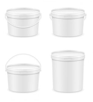 Weißer leerer plastikeimer für farbenvektorillustration