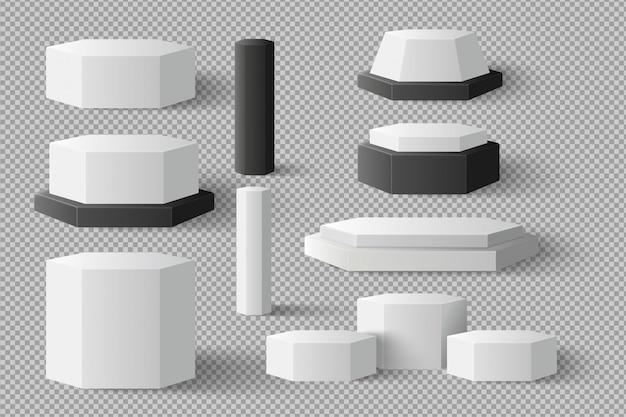 Weißer leerer zylinder, sechskantelementvorlage, gesetzt mit schatten auf transparenzhintergrund.