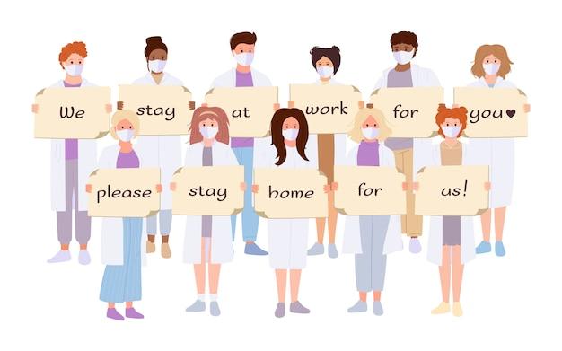 Weißer mantel des arztes, karikatursatz der medizinischen maske. sanitäter halten banner stop coronavirus bleiben zu hause