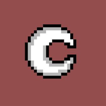 Weißer mond mit pixel-art-stil