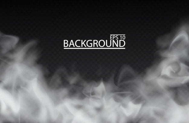 Weißer nebel oder rauch auf lokalisiertem transparentem hintergrund smog bewölkter himmel illustration