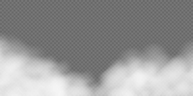 Weißer nebel oder rauch auf transparentem hintergrund.