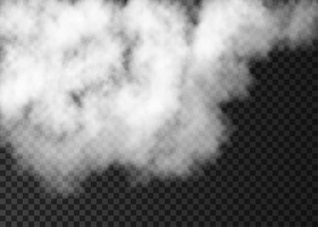 Weißer nebel spezialeffekt auf transparentem hintergrund isoliert. dampf. realistische vektorfeuerrauch- oder nebeltextur.