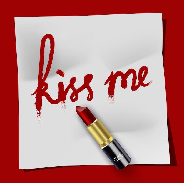 Weißer notizblock küssen mich mit lippenstift auf rotem hintergrund