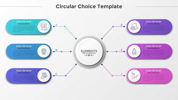 Weißer papierkreis verbunden mit 6 bunten abgerundeten elementen mit linearen symbolen und platz für text im inneren. konzept von sechs funktionen des geschäftsprojekts. infografik-design-vorlage. vektor-illustration.