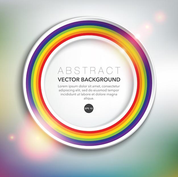 Weißer papierkreisrahmen mit regenbogen. abstrakter hintergrund.