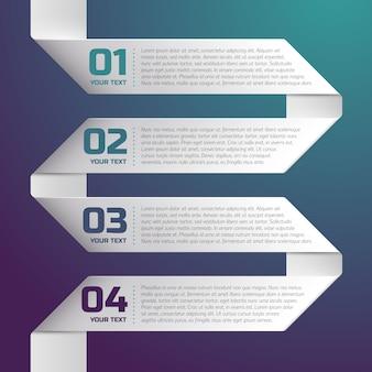 Weißer papierstreifen mit gegenständen von eins bis vier auf blauem farbverlauf