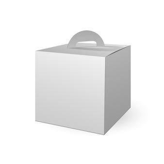 Weißer papptrage-kasten, der für lebensmittel verpackt