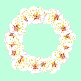 Weißer pflaumen-blüten-blumen-kranz auf grüner minze