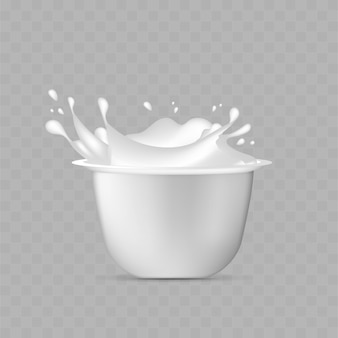 Weißer plastikbecher für joghurt.