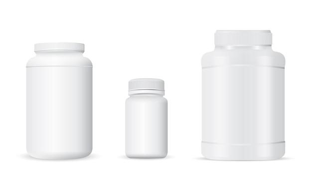 Weißer plastikbehälter für molkenproteinpulver