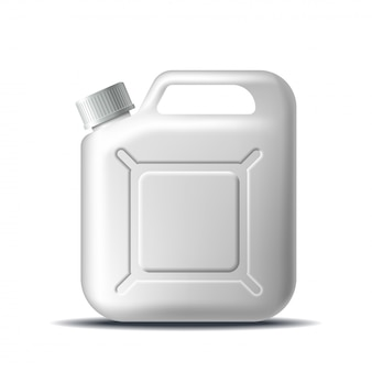Weißer plastikbehälter zur lagerung von öl, waschmittel, flüssigseife, milch oder saft isoliert.
