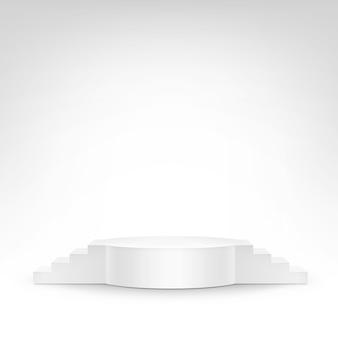 Weißer podium-tribünen-stand auf weißem hintergrund