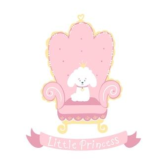 Weißer pudel des prinzessinhundes mit einer krone auf einem rosa thron. kleine prinzessin