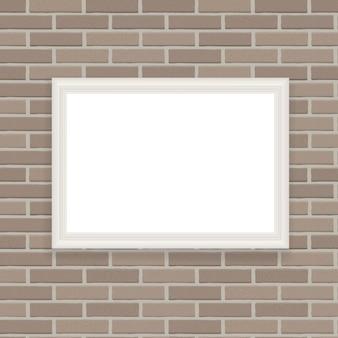 Weißer rahmen auf backsteinmauer-illustrations-hintergrund