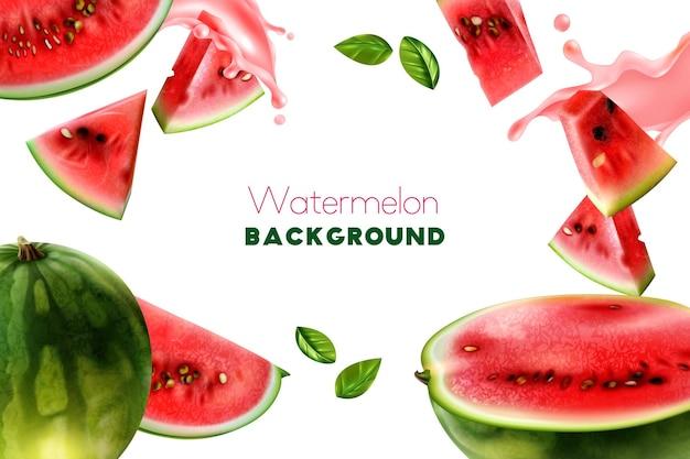 Weißer rahmenhintergrund mit realistischen wassermelonenstücken